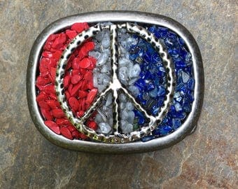 belt buckle red white blue silver peace symbol  belt buckle mens belt buckle women's belt buckle stone embellished belt buckle peace sign