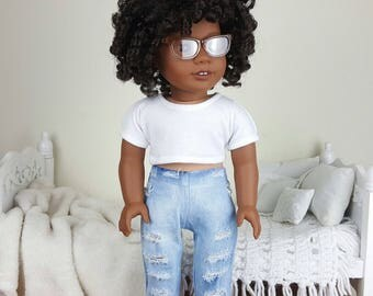 18 inch doll distressed jeans | acid wash jeans