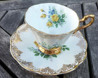 Rosina Bone China Yellow Rose teacup and saucer