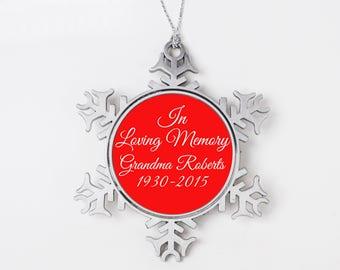 Memorial Christmas Ornament - Personalized In Loving Memory Christmas Ornament - Snowflake Christmas Ornament - Memorial Gift