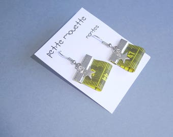 upcycled earrings  yellow tape measure