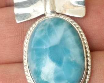 STRONG blue  jewelry larimar 925 sterling silver  PENDANT #4