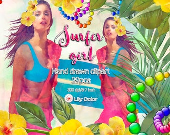 29 Surf girl clipart Floral decorations Surfer girl Surfboards Pineapple Hibiscus Colorfull ornaments Sea turtle Seahorse 300ppi PNG