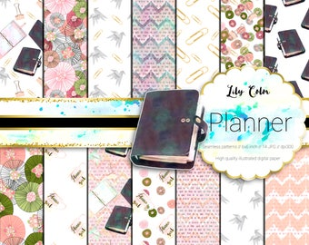 Planner digital paper Planner themed graphics For scrapbooking, invitations, planners and much more 14 sheets  300 ppi