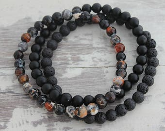 Fire Agate Mens Bracelet Set Agate Lava Stone Black Onyx Father Bracelet Dad Gift Boyfriend Gift Husband Gift Mens Gift Mens Beaded Bracelet