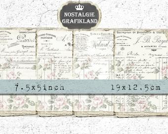 French Ephemera Rose Background Paper Ledger Letter printable vintage Journal 7.5 x 5 inch Instant Download digital collage sheet J104