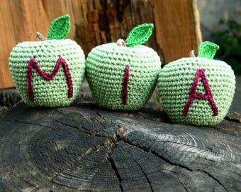 Personalized baby gifts for boys and girls Crochet apple toy New baby gift Birthday gift Inspirational Kids gift Easter basket stuffers Boy