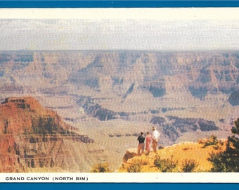 Vintage Linen Postcard - Visitors Enjoying a Spectactular View of the Grand Canyon From the North Rim in Arizona (2684)