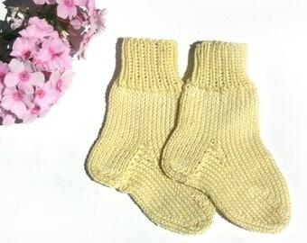 Baby cotton socks, Hand knit newborn socks, Shoes newborn, Baby shower gift