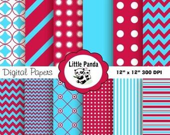 80% OFF SALE Dr. Seuss Digital Paper Pack, Scrapbook Papers, 12 jpg files 12 x 12 - Instant Download - D118