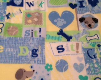 Personalized Embroidered Dog Blanket - Blue & Yellow Fleece SMALL