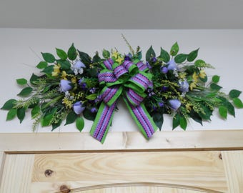 Floral Swag, Over Door Swag, Wall Hanging, Mantle Decor, Centerpiece, Year Round Swag, Beautiful Classy Swag with Lavender Roses