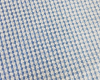 Fabric blue gingham cotton