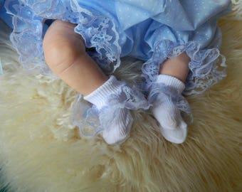 Newborn Baby white   with pale blue  ruffled lace socks  shoe/reborn baby dolls clothes Holiday Christmas