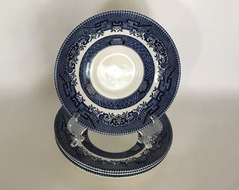 Blue WILLOW Saucers, SET of 4, CHURCHILL England, Willow Ironstone, Georgian Shape, English Ironstone,Vintage 1980s,Willow Blue,Gift for Her