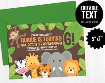 Editable Safari Birthday Invitation Template - Printable Jungle Theme Invite - Neutral Kids Birthday Party - First Birthday Instant Download