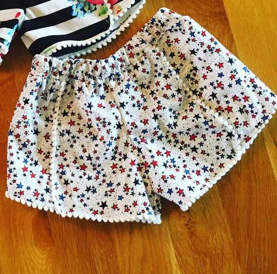 pom pom girls shorts, stars girls clothes, toddler girl clothes, summer clothes, baby  girls patriotic wear, girls summer outfit