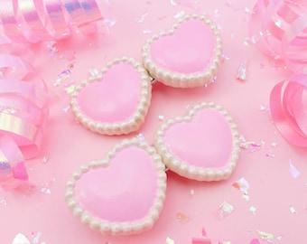 Hand-painted Twin Hearts Hair Clip - Kawaii Hair Clip - Fairy Kei Hair Accessory - Set of 2