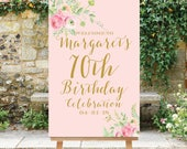 Birthday Welcome Sign, 30th 40th 50th 60th 70th 80th Birthday, Birthday Party Welcome, Blush Pink Gold, Birthday Poster, Printable The Lucia