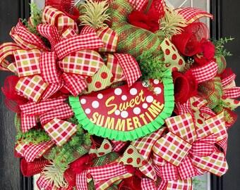 Summer Wreath, Spring Wreath, Watermelon Wreath, Large Wreath, Front door wreath, Whimsical Wreath, Outdoor Wreath