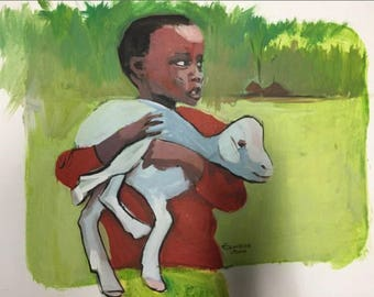 African Painting. Herdsboy. Acrylic Painting On Canvas Board.