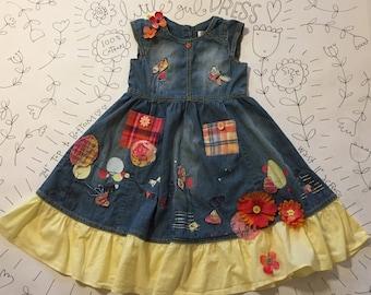 embellished repurposed little girl's denim dress in size 3