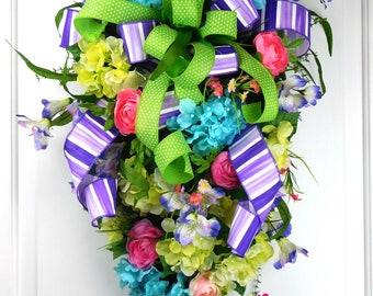 Spring Door Swag, Summer Door Swag, Front Door Decor Swag, Hydrangea Swag, Summer Wreath, Spring Wreath, Floral Swag, Floral Wreath