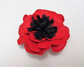 Red flower corsage, red leather croc clip, red & navy blue flower, real leather flower, red poppy brooch, red poppy hair clip, red croc clip