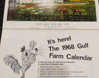 Original 1968 Gulf Oil Farm Calendar  Sales Calendar Sample Chart Poster - Vintage Gas Station