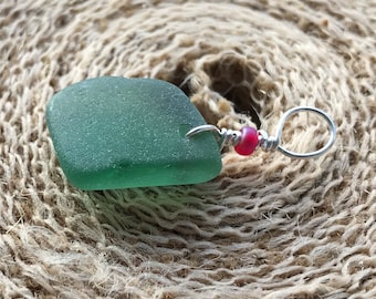 """Sterling Silver Seaglass """"Holly Berries"""" Pendant Necklace - Teal Green Scottish Sea Glass - 18"""" Sterling Silver Chain & Red Frosted Berry"""