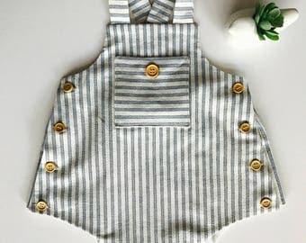 Vintage style ticker stripe play suit - 3-6m, 6-12m, 12-18m, 24m, 2/3T, 4/5T