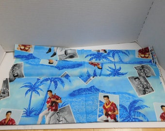 "Elvis Blue Hawaii Fabric One Yard Cranston 45"" wide"
