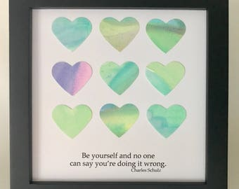 Motivational Art - Watercolor Hearts - Framed Square Art - Watercolor Collage - Schultz Quote - Original Art - 5x5 inch Frame - Be Yourself