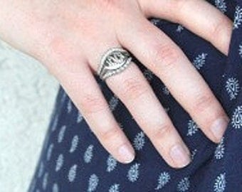 Monogrammed Ring, Engraved Sterling Silver CZ Ring
