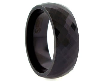9mm Black Titanium Faceted Band