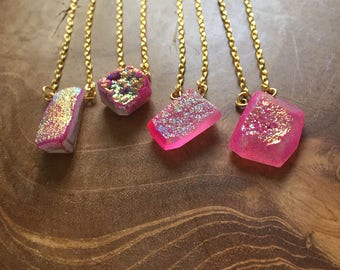 Pink Druzy - necklace with hotpink druzy as pendant with a iridescent shine - semiprecious stone, gypsy, boho, bohemian, trend, mineral