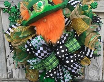 Saint Patricks Day Wreath, Leprechaun, Saint Paddy's Day Wreath