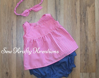 Baby Girls's 2 Piece Set - Pink Gingham Top with Cotton Denim Bloomer/Shorts with Elastic Legs and Ruffles on the Butt - Matching Headband