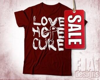 Disability Awareness, Multiple Myeloma, Amyloidosis, Head and Neck Cancer, Oral Cancer, Burgundy, Awareness Ribbon Shirt, Cancer Shirt