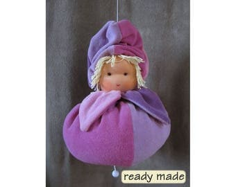 Waldorf doll with lullaby 12 inch (30 cm), Waldorf nursery decoration. Handmade. Ready to ship.