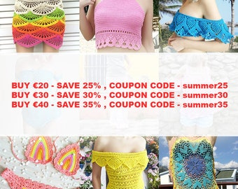 Crochet Patterns Summer Sale Buy 20 Save 25%, Buy 30 Save 30, Buy 40 Save 35 Discount COUPON Codes,