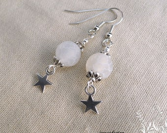 Frosted - white agate bead star earrings sc