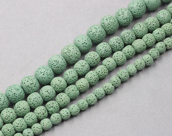Dyed Natural Lava Beads Full Strand 15.5 inch Round Green Volcanic Rock Gemstones wholesale mala 4mm 6mm 8mm 10mm 12mm 14mm MHA-169