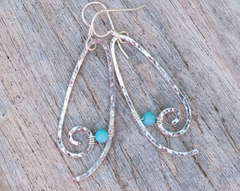 Amazonite Earrings, Hammered Sterling Silver Hoop Earrings, Silver Swirl Earrings, Long Dangly Earrings, Turquoise Stone Earrings