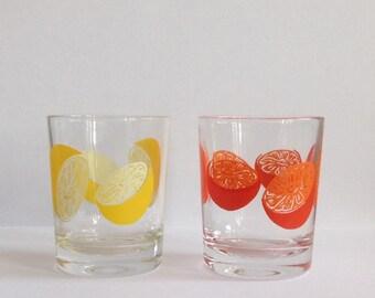 A Set of Two Retro Lemonade Glasses