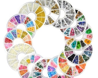 On Sale mix rhinestone, fimo slices,  Beads, DIY 3d Nails Decoration , Nail Art, choose design