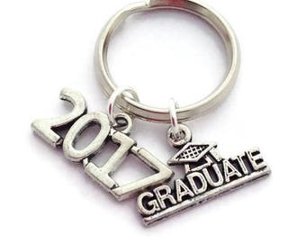 Graduate Keyring, Class of 2017, Graduation Gift, Masters Degree Keychain, Congratulations Present, Gifts for Him, Grad Student, Congrats