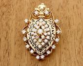Diamond and Black Enamel 14K Yellow Gold Brooch