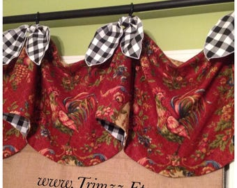 Ready To Ship........Cute French Country Inspired Rooster printed Valance with Black and White Gingham Check Ties.