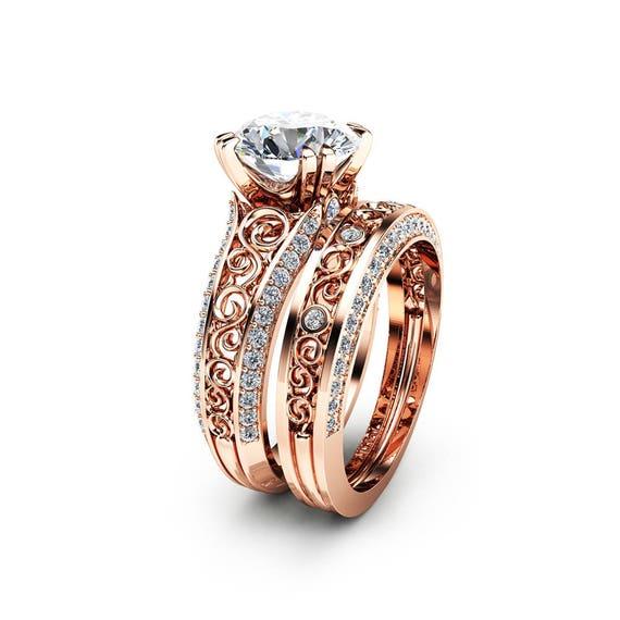 2 Carat Moissanite Engagement Ring Set Forever Brilliant